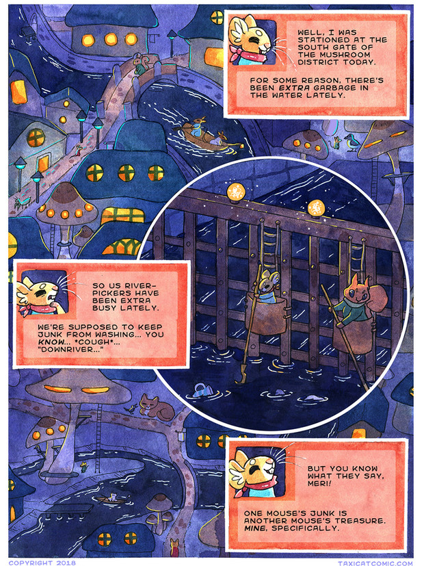 Page of Taxicat comic. Watercolor, ink and Photoshop.