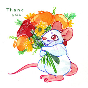 Thank-you card graphic featuring white lab mouse, 2018