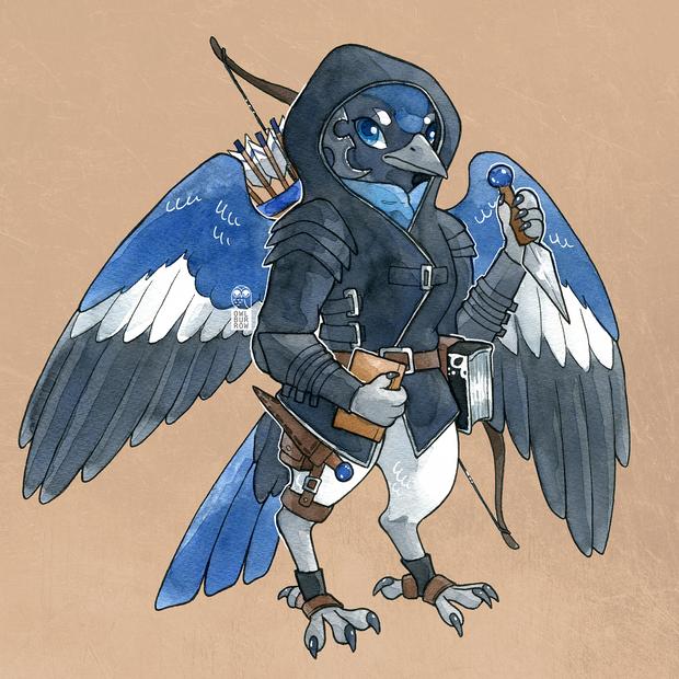 Character design based off a black-throated blue warbler, 2021.