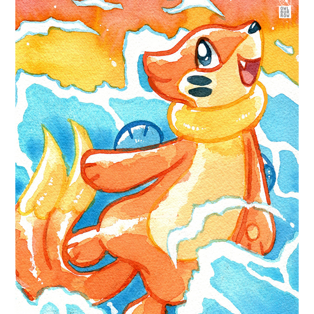 Watercolor painting of Buizel, 2020