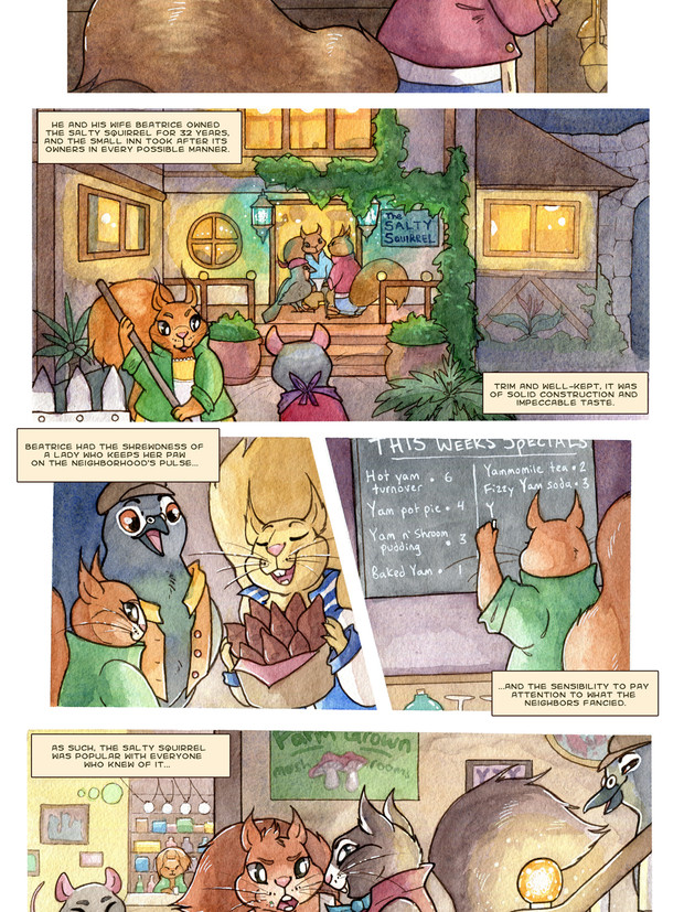 Page of taxicat comic. Watercolor, ink, and Photoshop
