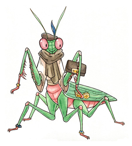 Character design for Taxicat of a praying mantis