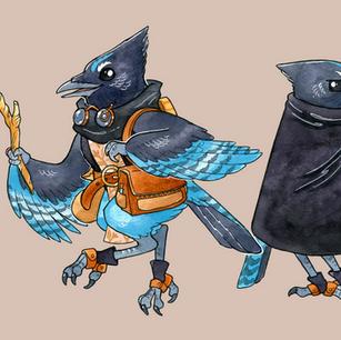 Character design based on Steller's Jays, 2021