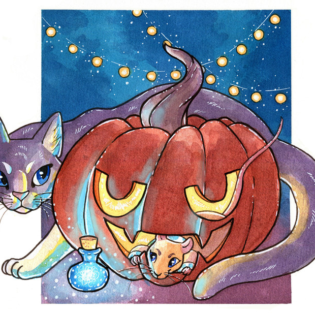 Halloween graphic for Taxicat comic. Pen and watercolor.