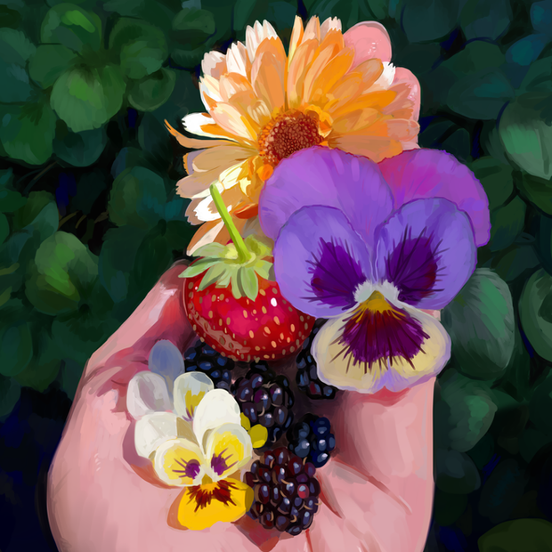 Painting study of flowers and fruit. Original photograph by Joy Ang, used with permission.