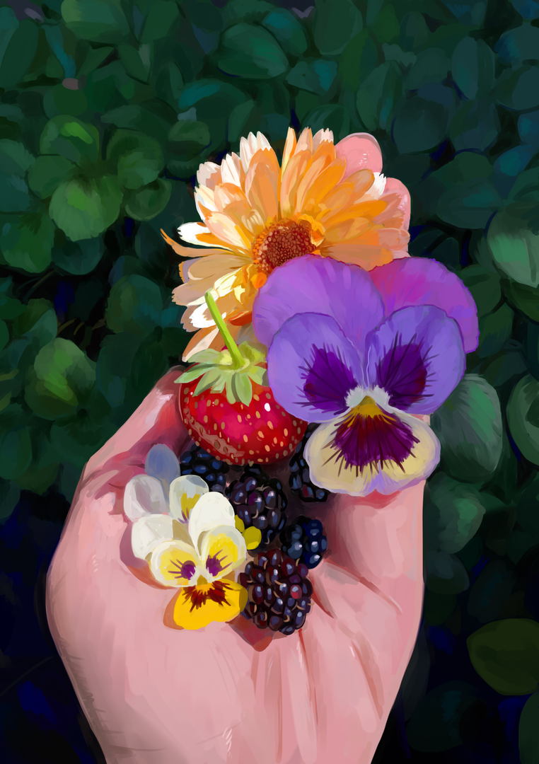 Painting study of flowers and fruit