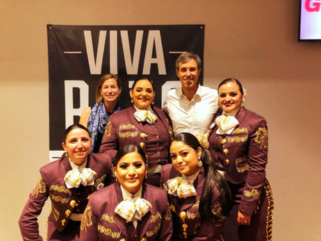 Some of the Mariposas with Beto O'Rourke after performing for his rally in South Texas
