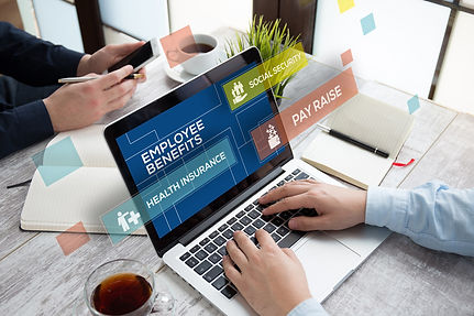 Laptop with employee benefit and health insurance information