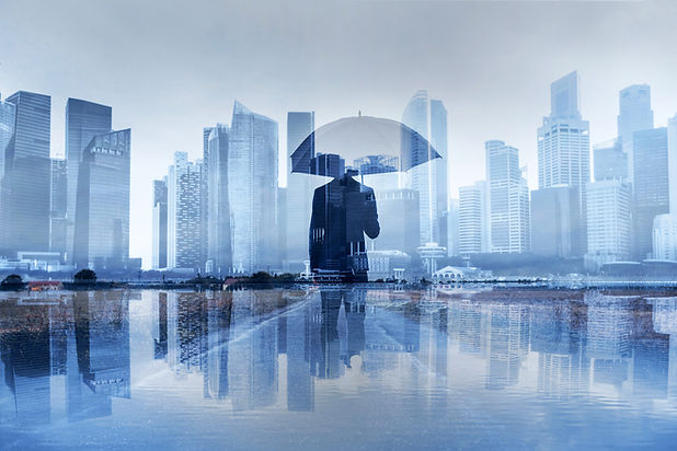 Man with umbrella in the city