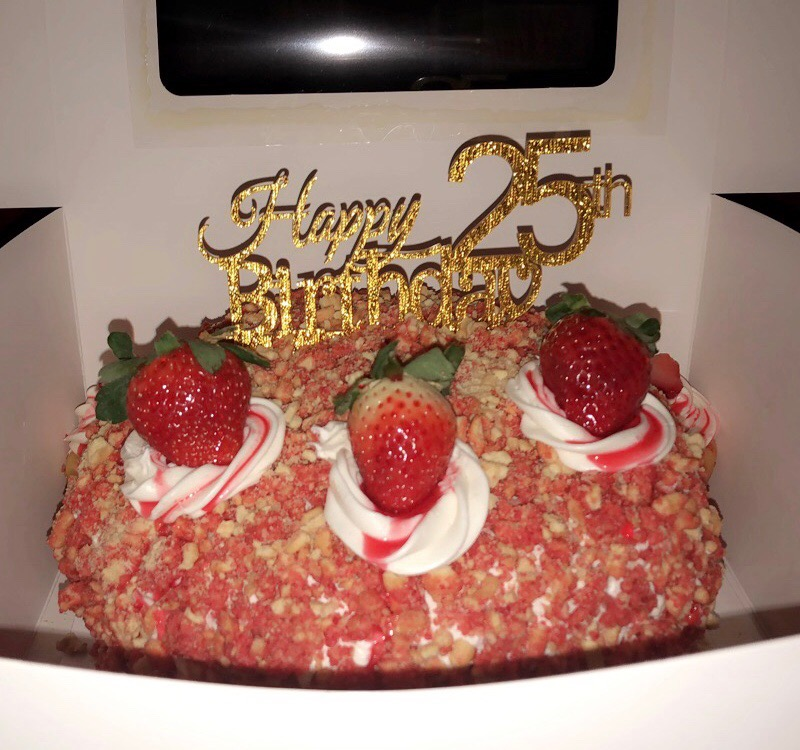 Strawberry Crunch Birthday Cake