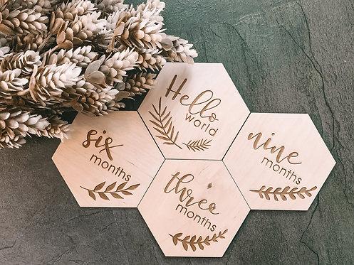 ❉FLOWER❉ hónapjelölő - hexagon - 13db + 1 ajándék