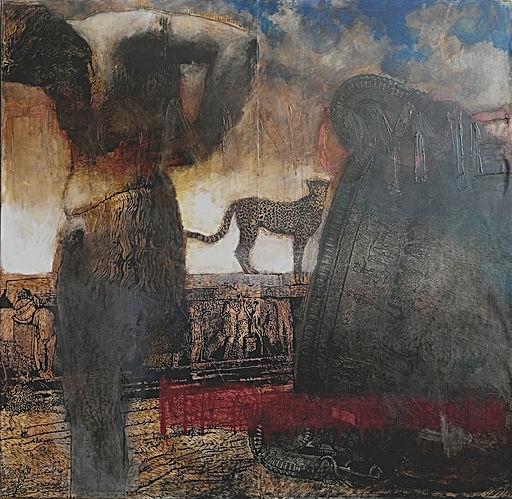 Le cratère de Vix —sorti d'un atelier corinthien grec d'Italie du sud vers 525 av.J.C.— a été retrouvé dans un oppidum bourguignon (la tombe d'une princesse celte). Dionysos entreprend un voyage mystérieux en Inde puis revient en Beotie sur le dos d'un léopard. Le félin est ici perché sur l'autel, au centre du théâtre de Dionysos. Il surplombe Athènes. Un satyre en Atlante de l'époque impériale (2eme siècle) permet une représentation du désespoir silénique. Nous mourons. Je ne peux ici donner d'avantage de clefs. Pensez seulement au chemin parcouru par ce cratère, pensez à la grande Grèce. Pensez maintenant à notre Europe actuelle et au vin répandu.