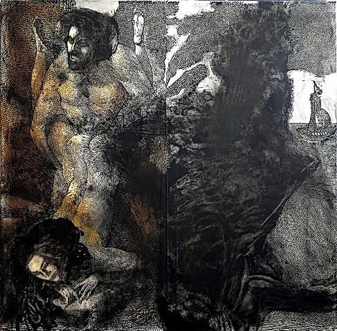 Dionysos et Ariane Inspiré d'une planche de la suite des amours des dieux, d'après des sènes d'Augustin Carrache Jacques Joseph Coiny (1761-1809), 1798. BnF, Département des estampes et de la photographie, Enfer, smith-Lesouëf-4, pl. X.  #kaoriito #jamesthierrée