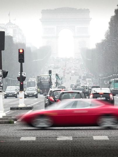 Red car in Paris