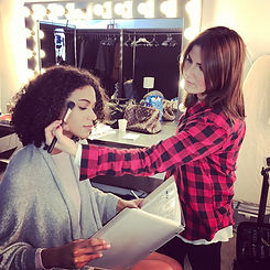 makeup artist for weddings, tv and film doing makeup