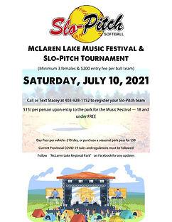 McLaren Lake Music Festival 2021 poster.