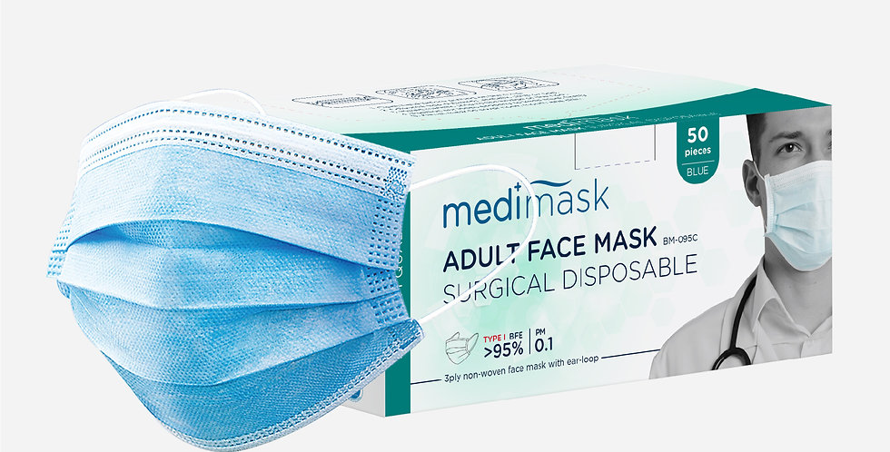 MEDI+MASK ADULT SURGICAL DISPOSABLE FACE MASK BM095C