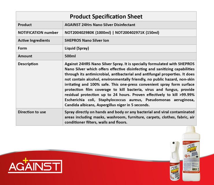 against nano silver disinfectant POSM-09