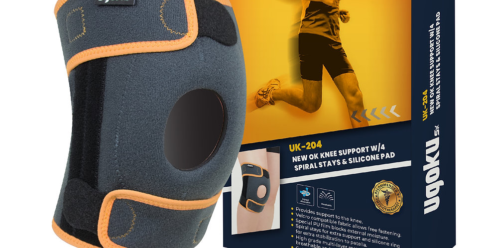 UGOKU NEW OK KNEE SUPPORT WITH 4 SPIRAL STAYS & SILICONE PAD