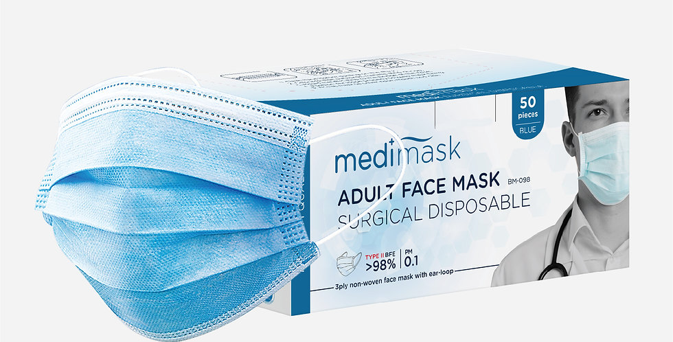 MEDI+MASK ADULT SURGICAL DISPOSABLE FACE MASK BM098