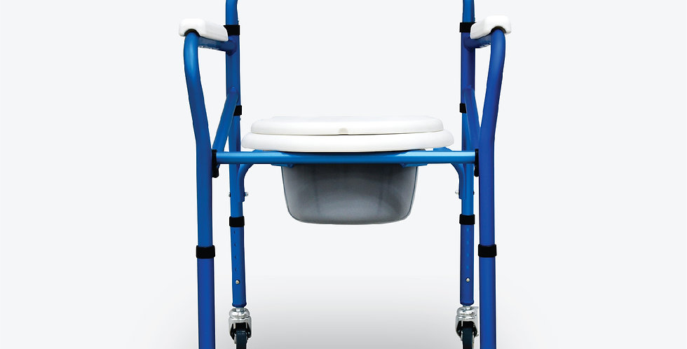 ANZEN ALUMINIUM FOLDING COMMODE, MOBILE (Crutches Tongkat)