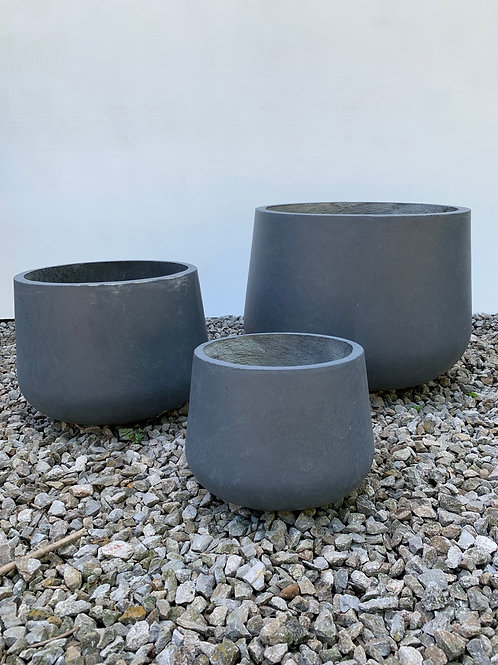Potbelly Blue Granite Planters- 3 Sizes Available