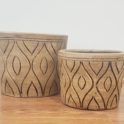 White Mid Mod Carved Cylinder Planter-  2 Sizes Available or as Set