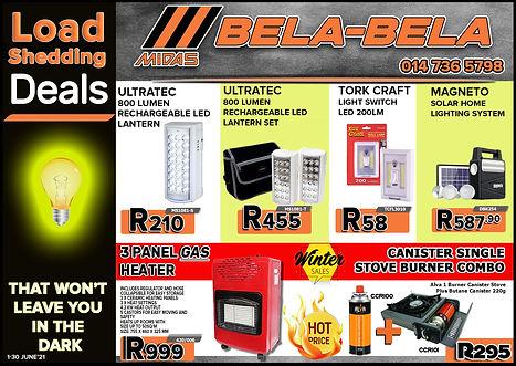 Midas Online, Bela Bela, Warmbad, Loadshedding Deals, Winter, Load Shedding
