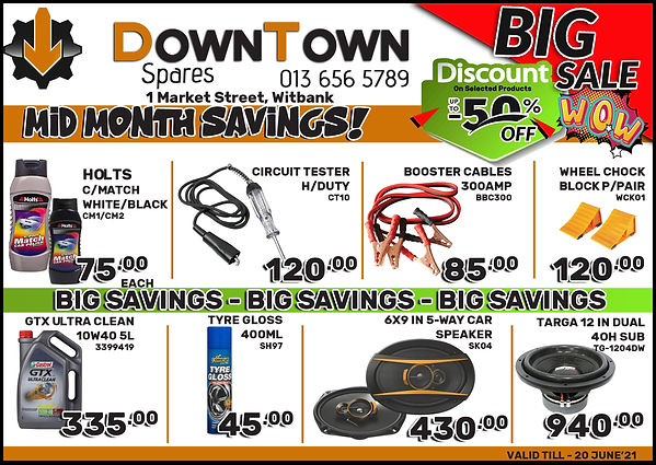 Down Town Spares, Midas, Midas Online, Oil, Spares, Witbank, Speakers, Holts, Booster Cables, Wheel Block