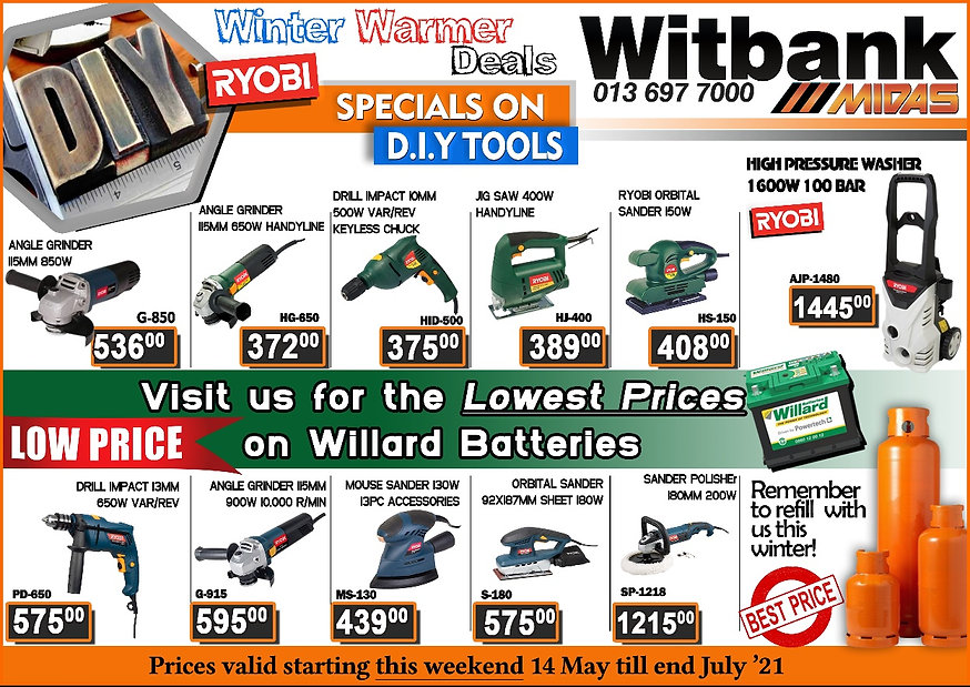 Tools Special Witbank, Ryobi, Drill special, Sander special, Angle Grinder