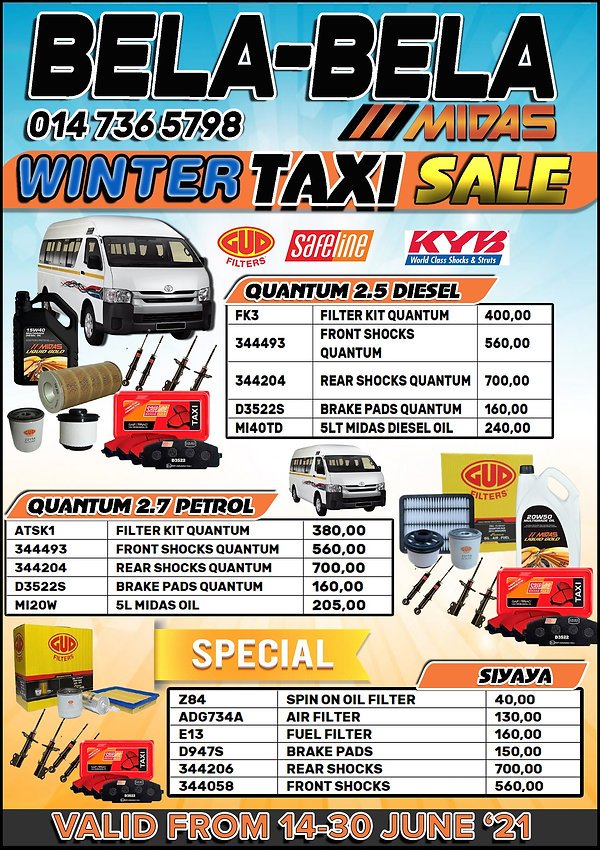 Midas, Midas Online, Car Parts, Spares, Oil, Filters, Taxi, Quantum, Service, Service Kit, Bela-Bela, Warmbad