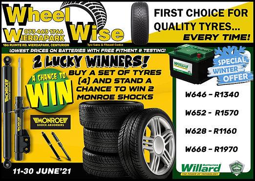 Tyres, Batteries, Wierdapark, Pretoria, Centurion, Special, Sale, Wheel Wisse