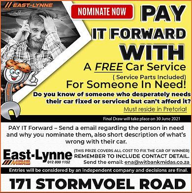 Midas, Midas Online, Online Parts, East Lynne, Pretoria, Pay It Forward, Win, Car Service, Free Service,Automotive