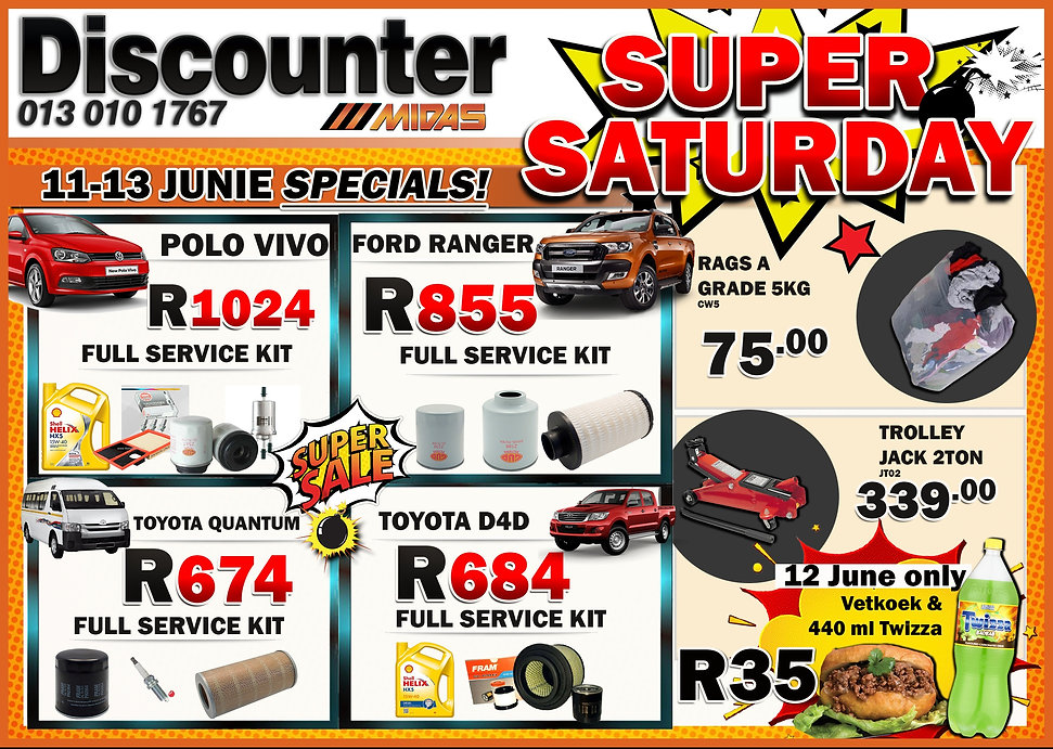 Witbank, Midas, Super Saturday, Discounter, Service Kit, Polo, Quantum, Ranger, Bag of Rags, Jack, Automotive, Car, spares, oil