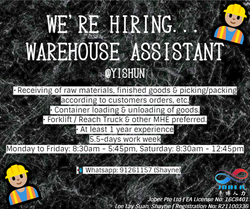 👷🏼♂️ WAREHOUSE ASSISTANT | YISHUN, UP TO $1.9K