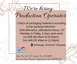 🔧 *NO EXP WELCOME!! PRODUCTION OPERATOR | 5 DAYS, SHIFT, YISHUN