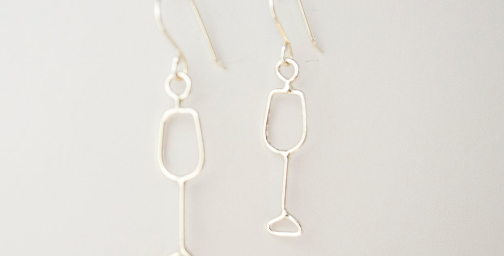 Small Sterling Silver Wine Glass Earrings