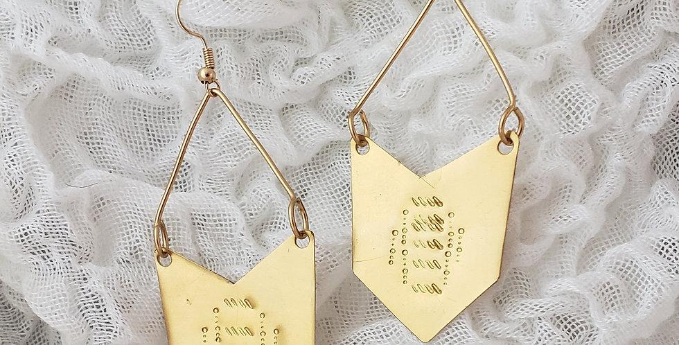 Fierce Brass Chevron Inspired Earrings