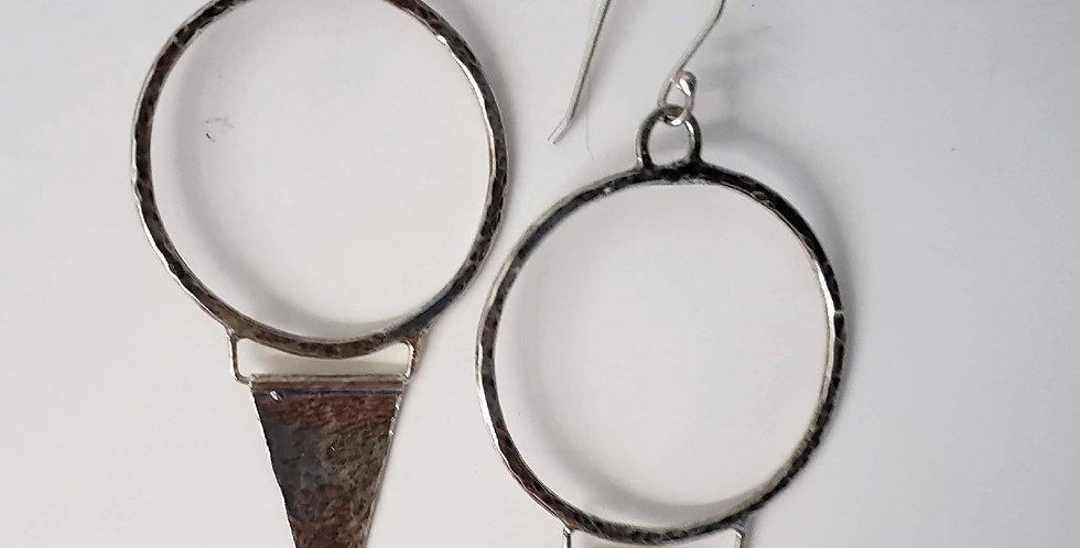 Sterling Silver Hoop and Spike Earrings