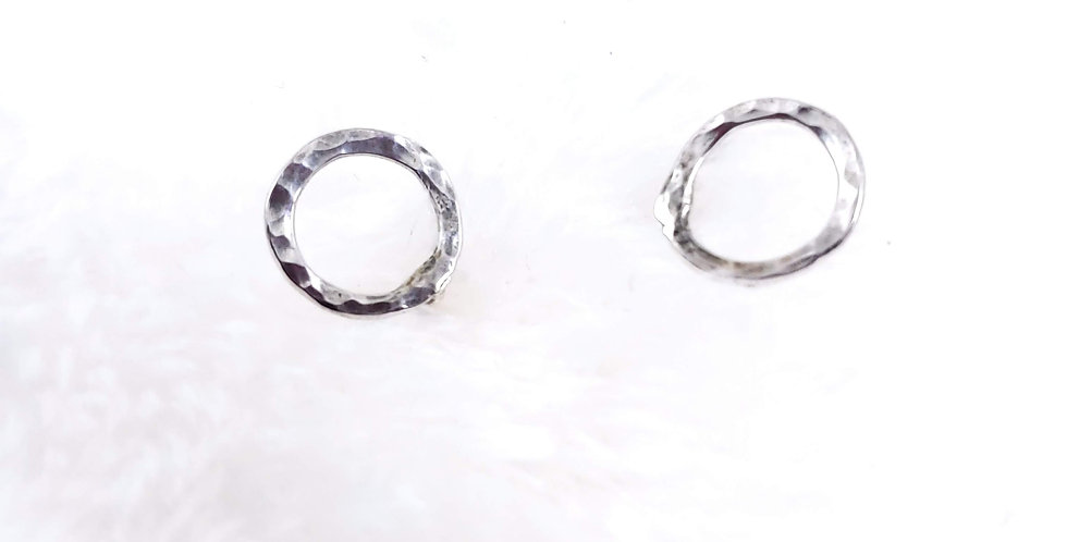 Hammered Silver Circle Studs
