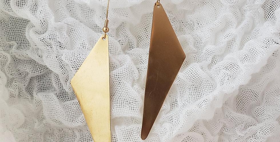 Bodacious Brass Triangle Earrings