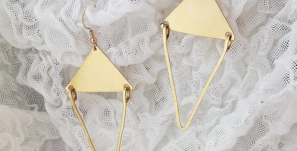 Bold Brass Dangle Triangles