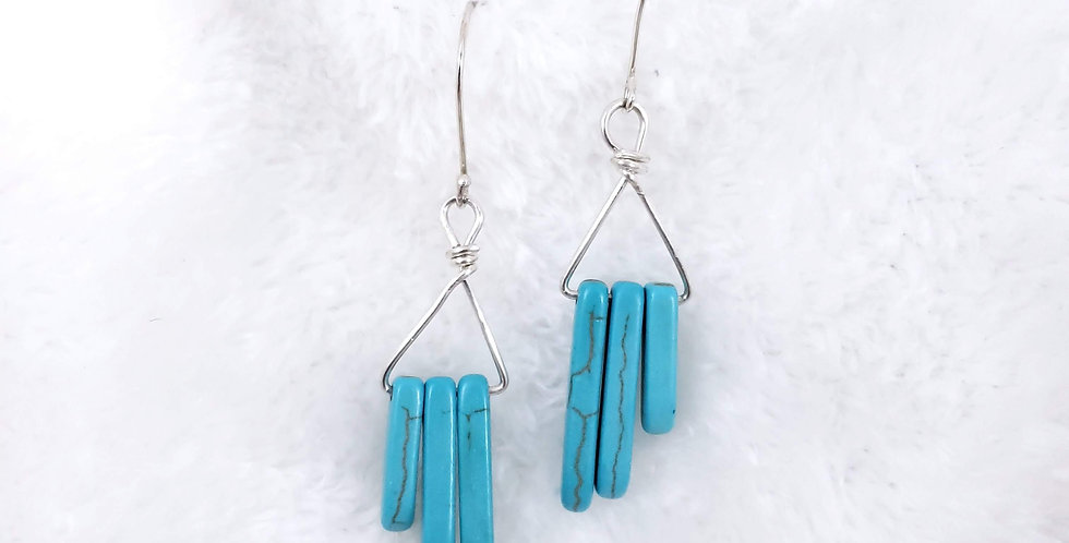 Tri Turquoise Sterling Silver Earrings