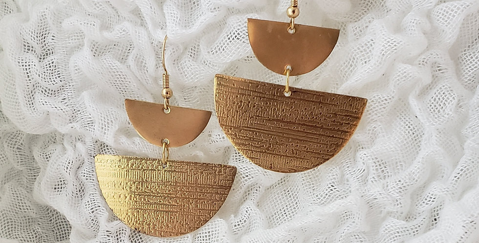 Strong Brass Double Half Moon Earrings