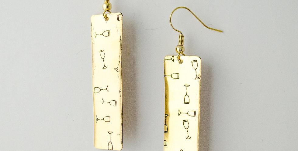 Brass Bar Wine Stamp Earrings