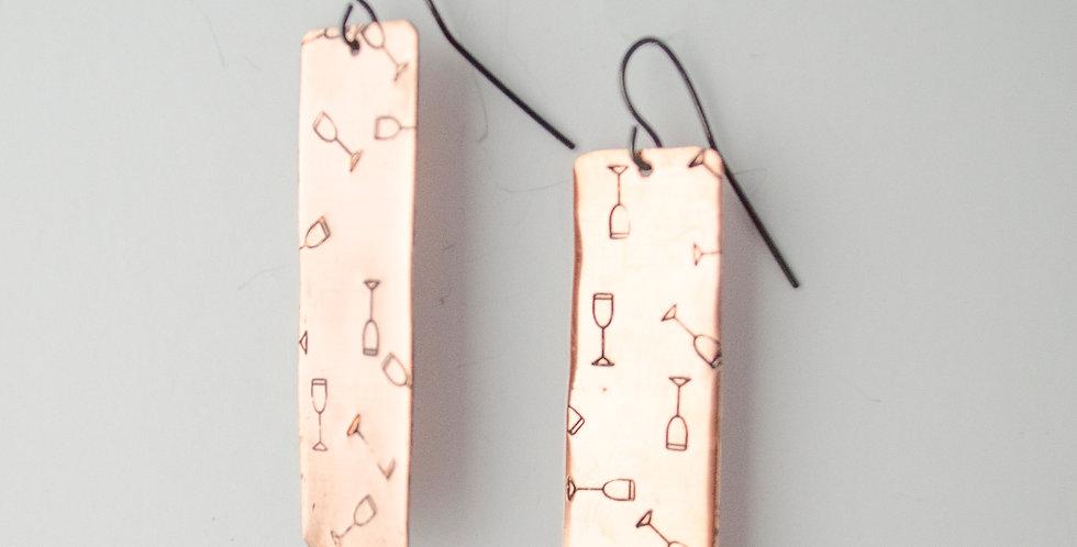 Copper Bar Wine Glass Earrings