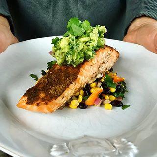 Smoked Avocado Salsa and Black Bean Corn Salad with Grilled Salmon.