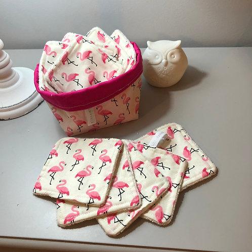 10 petits carrés lavables et panier assorti