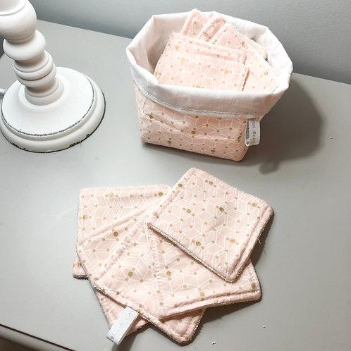 10 petits carrés lavable et panier assorti Blanc Plume et Rose