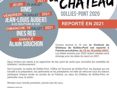 Le Festival du Château de Solliès-Pont est reporté à l'année prochaine du 15 au 18 juillet 2021